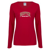 Ladies Cardinal Long Sleeve V Neck Tee-Denver Basketball