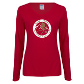 Ladies Cardinal Long Sleeve V Neck Tee-2018 NCAA Skiing National Champions