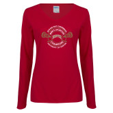 Ladies Cardinal Long Sleeve V Neck Tee-2018 Big East Mens Lacrosse Championship