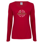 Ladies Cardinal Long Sleeve V Neck Tee-Basketball