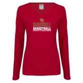 Ladies Cardinal Long Sleeve V Neck Tee-DU Basketball