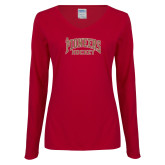 Ladies Cardinal Long Sleeve V Neck Tee-JR Pioneers Hockey