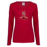 Ladies Cardinal Long Sleeve V Neck Tee-DU Hockey