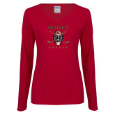 Ladies Cardinal Long Sleeve V Neck Tee-Denver Hockey