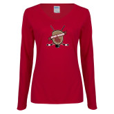 Ladies Cardinal Long Sleeve V Neck Tee-Hockey