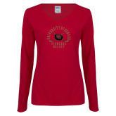 Ladies Cardinal Long Sleeve V Neck Tee-Pioneers Hockey