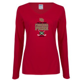 Ladies Cardinal Long Sleeve V Neck Tee-Pioneer Pride Hockey