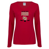 Ladies Cardinal Long Sleeve V Neck Tee-Pioneer Pride DU Hockey