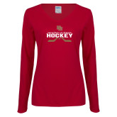 Ladies Cardinal Long Sleeve V Neck Tee-University of Denver Hockey