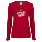 Ladies Cardinal Long Sleeve V Neck Tee-University of Denver Pioneers Hockey