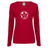 Ladies Cardinal Long Sleeve V Neck Tee-DU Soccer