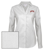 Ladies Red House Diamond Dobby White Long Sleeve Shirt-Primary 2 Color