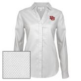 Ladies Red House Diamond Dobby White Long Sleeve Shirt-DU 2 Color