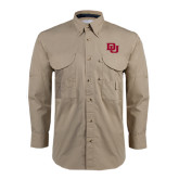 Khaki Long Sleeve Performance Fishing Shirt-DU