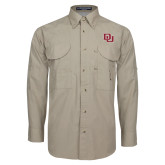 Khaki Long Sleeve Performance Fishing Shirt-DU 2 Color