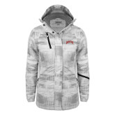 Ladies White Brushstroke Print Insulated Jacket-Arched Denver 2 Color Version