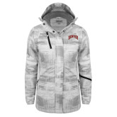 Ladies White Brushstroke Print Insulated Jacket-Primary 2 Color