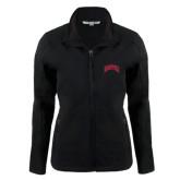 Ladies Black Softshell Jacket-Arched U of Denver 2 Color Version