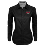 Ladies Black Twill Button Down Long Sleeve-National Champions 2015 Lacrosse
