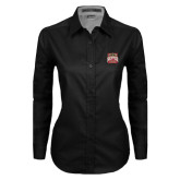 Ladies Black Twill Button Down Long Sleeve-Pioneer Movement
