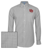 Mens Charcoal Plaid Pattern Long Sleeve Shirt-DU 2 Color