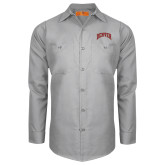 Red Kap Light Grey Long Sleeve Industrial Work Shirt-Primary 2 Color