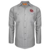 Red Kap Light Grey Long Sleeve Industrial Work Shirt-DU 2 Color