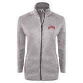 Grey Heather Ladies Fleece Jacket-Arched U of Denver 2 Color Version