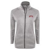 Grey Heather Ladies Fleece Jacket-Arched Denver 2 Color Version
