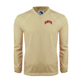 Colorblock V Neck Vegas Gold/White Raglan Windshirt-Arched U of Denver 2 Color Version