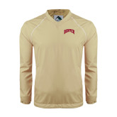 Colorblock V Neck Vegas Gold/White Raglan Windshirt-Arched Denver 2 Color Version