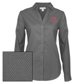 Ladies Red House Diamond Dobby Charcoal Long Sleeve Shirt-DU 2 Color