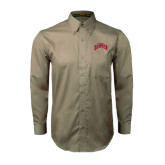 Khaki Twill Button Down Long Sleeve-Arched U of Denver 2 Color Version