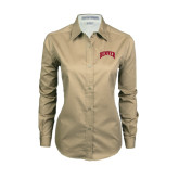 Ladies Khaki Twill Button Down Long Sleeve-Arched Denver 2 Color Version