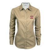 Ladies Khaki Twill Button Down Long Sleeve-Pioneer Movement