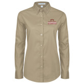 Ladies Khaki Twill Button Down Long Sleeve-2017 NCAA Division I Mens Hockey Champions