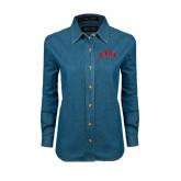Ladies Denim Long Sleeve Shirt-Arched U of Denver 2 Color Version