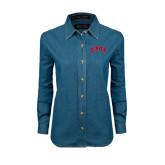 Ladies Denim Long Sleeve Shirt-Arched Denver 2 Color Version