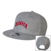 Heather Grey Wool Blend Flat Bill Snapback Hat-Arched U of Denver 2 Color Version