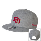 Heather Grey Wool Blend Flat Bill Snapback Hat-DU