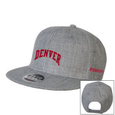 Heather Grey Wool Blend Flat Bill Snapback Hat-Arched Denver 2 Color Version