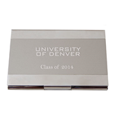 Dual Texture Silver Business Card Holder-University of Denver Engraved, Personalized