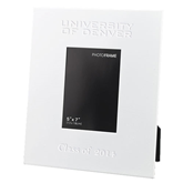 White Metal 5 x 7 Photo Frame-University of Denver Engraved, Personalized