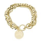Olivia Sorelle Gold Round Pendant Multi strand Bracelet-Arched Denver Engraved
