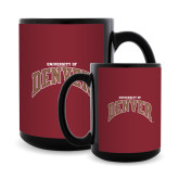 Full Color Black Mug 15oz-University of Denver