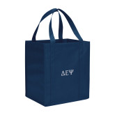 Non Woven Navy Grocery Tote-Greek Letters
