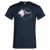 Navy T Shirt-Lion Head Depsi