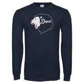 Navy Long Sleeve T Shirt-Lion Head Depsi