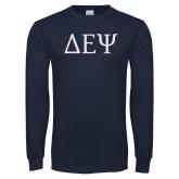 Navy Long Sleeve T Shirt-Greek Letters