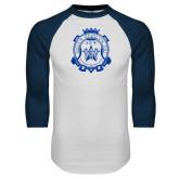 White/Navy Raglan Baseball T Shirt-Delta Epsilon Psi Shield